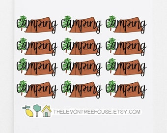 Camping Stickers - 12 Hand-Lettered Planner Stickers