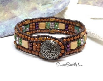 Southwestern Beaded Leather Cuff Bracelet,  Western Chic,  Beaded Wrap Bracelet, 3 Row Cuff,  Leather Jewelry, Button Bracelet, Loom Style