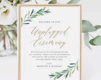 Unplugged Ceremony Sign, Wedding Unplugged Sign, Wedding Signs, Printable Wedding Sign | Edit in Word and Pages
