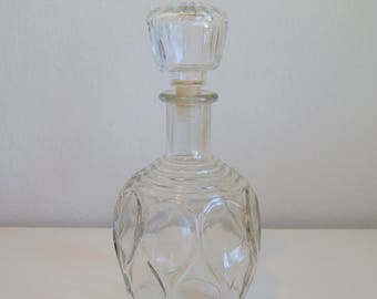 """Vintage Glass Decanter with Stopper, """"Bubble"""" Design"""