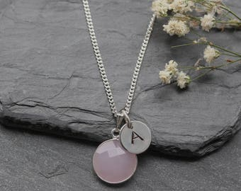 October Birthstone Jewelry Sterling Silver - Personalized Necklace -Pink Chalcedony Necklace - Personalised October Birthstone Jewellery A85