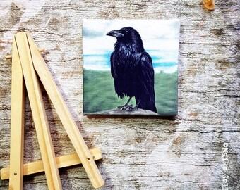 Mini Canvas Giclée Print with Easel - Handmade - Raven, Crow, Birds, Pastelpainting, Pasteldrawing, artwork by Fleurdoodles Maike Geller
