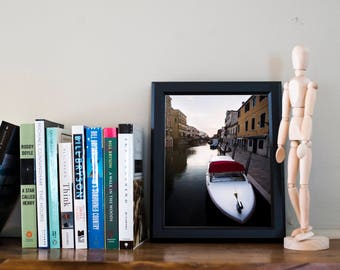 A Boat at Sunset/ Home Decor Gift / Water/ Travel / Venice/ Print / Summer Wall Art / Unique/ Adventure/ Wanderlust / Fine Art/ Italy