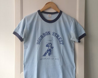 Vintage 80s Bourbon Street Sportswear Ringer Tee M Made In USA