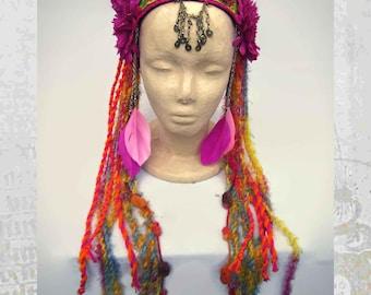 Tribal Belly Dance Headdress, Fairy Headdress, Tribal Fusion Headdress, Gypsy Headband, Festival Headpiece, Boho Headdress, Pink Headband