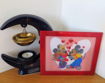Cute Mickey and Minnie Mouse Embroided with Beads