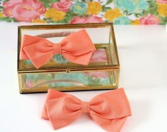 Peach Hair Bow - Hair Bows and clips for Girls - Nylon Headbands