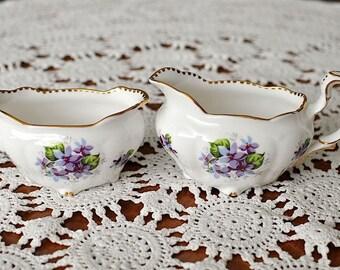 "Vintage Royal Stafford Bone China ""Sweet Violets"" Oval Cream and Sugar Set / Purple Violets Creamer and Sugar / Sweet Violets Creamer Set"