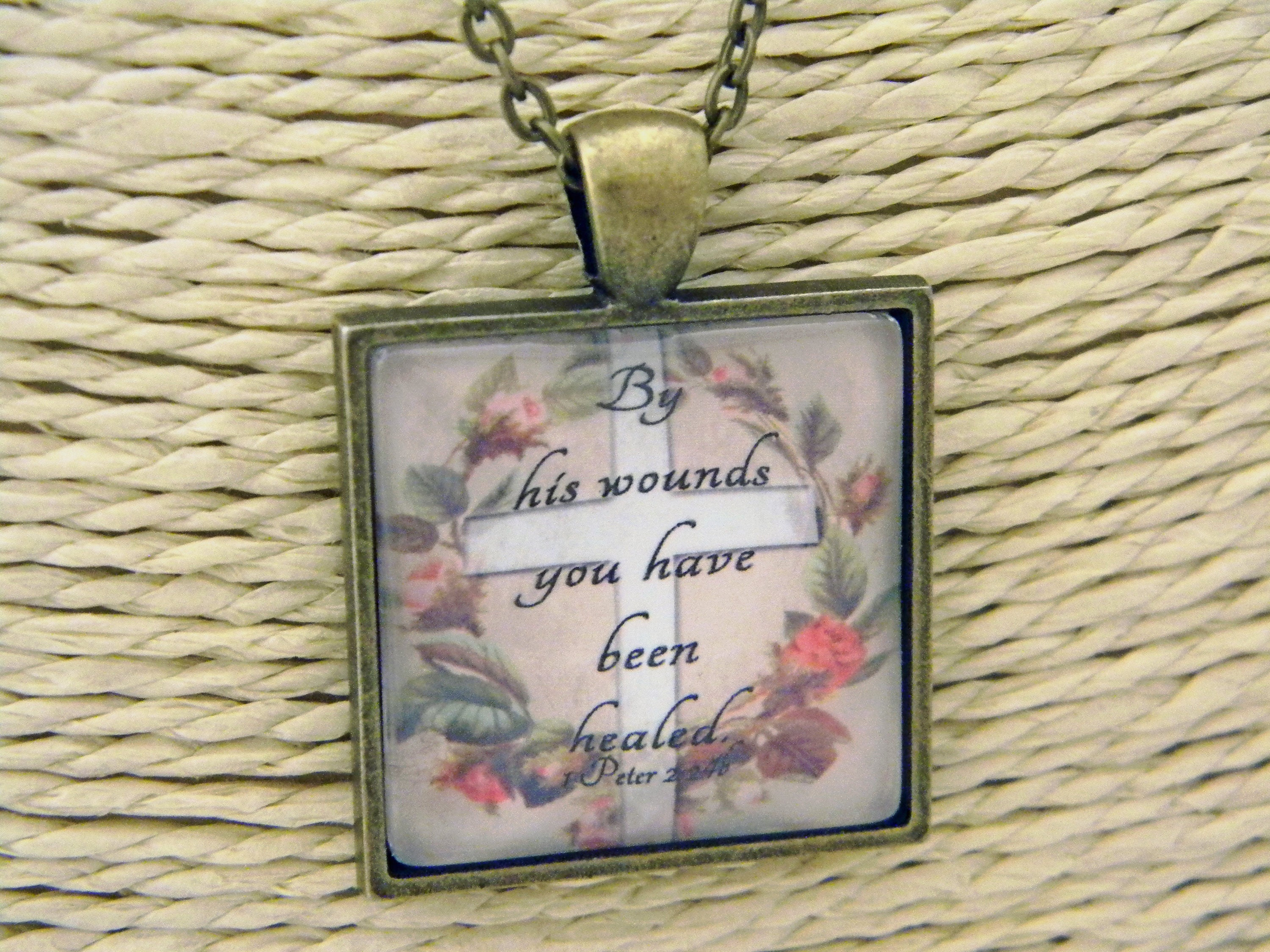 Esv scripture cabochon pendant necklace christian gift bible verse esv scripture cabochon pendant necklace christian gift bible verse 1 peter 224b by his wounds you have been healed gift boxed ready negle Images