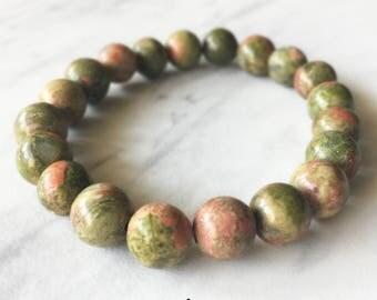 Unakite Bracelet, Unakite, Crystal Bracelet, Gemstone, Beaded Bracelet, Unakite Jewelry, Chakra Jewelry, Beaded Bracelets, 8mm Bracelet