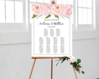 Wedding Seating Chart, Wedding Table Plan Sign, Personalize Seating Plan, Blush Peonies, Silver Glitter, Bohemian Wedding, #SG002