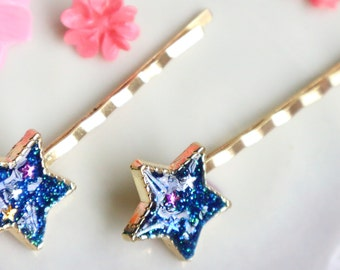 One pair of Star Hair Clips , Blue, Hair Jewelry, UV RESIN, Space