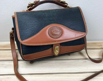 Dooney & Bourke Navy and Brown Leather Messenger Bag with Crossbody Strap