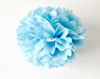 pale baby blue / tissue paper pom pom / diy / wedding decor / nursery / baby boy pom pom flower