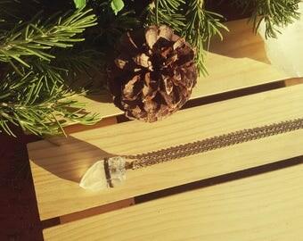 TUNDRA - Large Raw Quartz Gemstone Necklace, Clear Quartz, Bronze Cable Chain, Chunky Quartz Pendant, Statement Necklace, Gemstone Gift