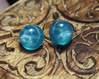Magic Mermaid Glitter Ocean Dome Resin Stud Earrings