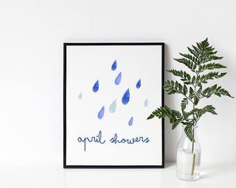 April Showers Printable // Rain Print, Weather Print, Rain Wall Art, Unusual Wall Decor, Blue Printable, Blue Prints, Blue Wall Art