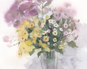 FREE SHIPPING / Original watercolor painting with daisies on white background / Flowers for home / Daisy wall art / Floral artwork / Picture