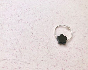 Ring Silver 925 and Onyx flower