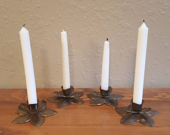 Set of 4 vintage brass flower candlesticks.  Short boho petal candlesticks.  Retro lotus.