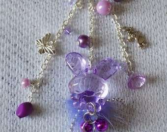 Bag charm or key ring silver, large rabbit, glass beads, pink, mauve and purple, butterfly and teddy bear charms