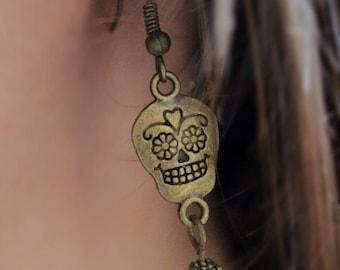 Skull earrings / Red Skull