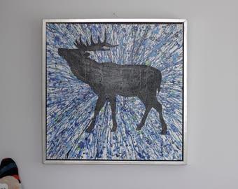 Original painting, blue painting, Winter Deer, deer wall art, modern art, acrylic painting on canvas