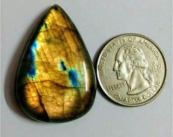 37.40x25.67mm,Pear Shape,Labradorite Cobochon/Golden Flash /wire wrap stone/Super Shiny/Pendant Cabochon/Semi Precious Gemstone/silverJewl