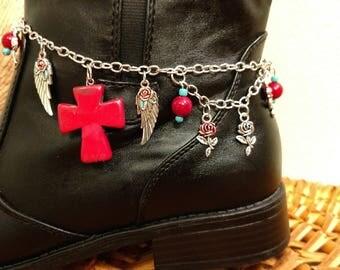 Boot Bracelet, Chain Boot Bracelet, Boot Jewelry, Black Boot Bracelet, Boot Anklet, Cross Boot Bracelet, Cowboy Boot Bracelet, Western Wear