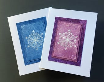 Snowflake sorbets embossed cards (set of 2), hand-painted papers, individually made, note cards, fine cards, SKU BLA21047