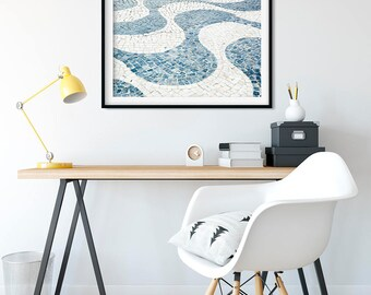 Geometric Wave Pattern Art Print - Cascais Portugal Travel Photography Print - Blue and White Cobblestone Wall Art - Modern Home Decor