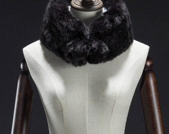 Black Faux Fur Muffler, Neck Wrap, Ball End Muffler, Faux Fur Wrap