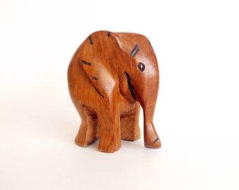 Vintage Hand Carved Wooden Elephant | Wood Elephant Figurine | Wooden Carving | Bohemian Decor | Boho | Nursery Decor | Wood Animal Figurine