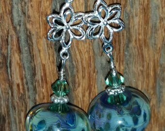 GRAND CAYMANS Handmade Boro Bead Swarovski Crystal & 925 Earrings