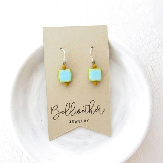 Dainty Square Earrings > Blue