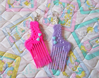 Hair comb doll earrings, pink purple seahorse seapunk kawaii jewelry barbie fashion 80s fairy kei drag queen hairdresser gift hair stylist