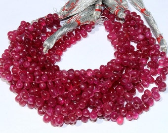 "Full 8.2"" 4x3 - 8x5mm Finest Quality Natural Ruby Smooth Teardrop  Briolettes / Ruby Beads / Precious Gemstone Beads GBE07"