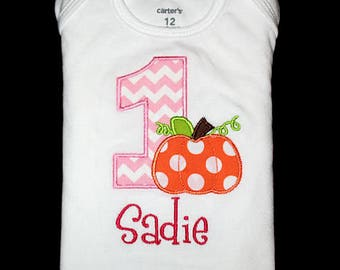 Custom Personalized Applique Birthday Number with PUMPKIN and NAME Shirt or Bodysuit - Pink Chevron Stripe, Orange, Lime Green, and Hot Pink