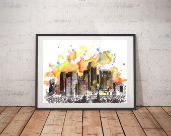 Los Angeles Skyline Art Print From Original Watercolor Painting 13x19 Los Angeles Art Los Angeles Painting Wall Art Cityscape Art Poster