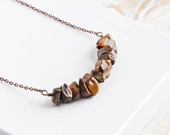 Rustic Tiger Eye Gemstone Bead Bar Necklace on Antiqued Copper Plated Chain