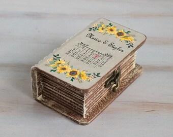 Wedding ring box Sunflowers Ring Bearer Box Personalized wedding box Save the date wedding Box Еngagement box Custom Proposal Box Wooden box