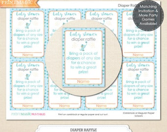 Baby Elephant Diaper Raffle Baby Shower Game - Instant Download - Boy Baby Shower Diaper Raffle - Printable Boy Baby Shower Game