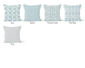 Light Blue Pillow Cover, Decorative Throw Pillow Covers, Euro Pillow Sham 16 x 16, 18 x 18, 20 x 20, 22 x 22, 24 x 24, 26 x 26