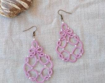Lace earrings , tatted earrings , beaded earrings , frivolite earrings , lace jewelry , lace earrings