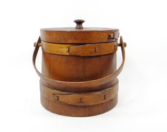 Antique Wooden Sugar Bucket Small Firkin Wood Handle Original Lid Primitive 3 Finger Banded Farmhouse Decor - Shaker Style  - Pantry Bucket