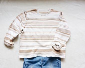 Vintage 90s sweater   vintage 90s beige brown striped oversized minimal sweater