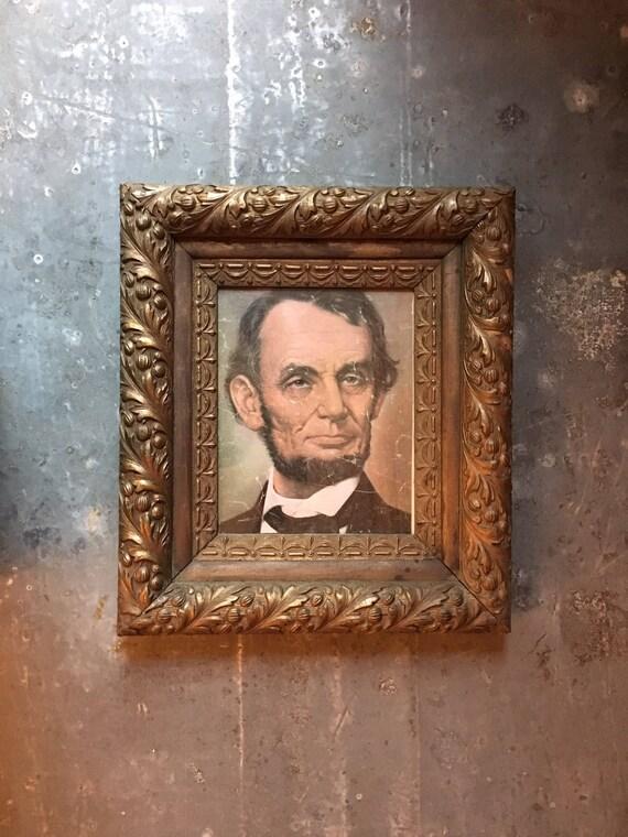 Antique Gold Framed Lincoln Print, Abraham Lincoln Photo, Abe Lincoln Art