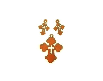 Chubby Cross With Cross Cut Out Rusty Metal Pendant/Charm And Earrings 3-Piece Set