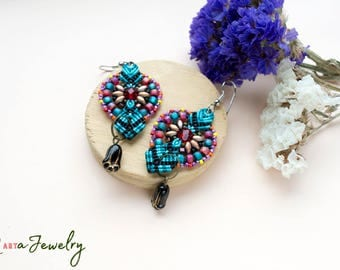 Colorful macrame earrings, beaded, bohemian, long, micro-macrame jewelry, beadwork, beadwoven, black tulip flower, blue red, gift idea