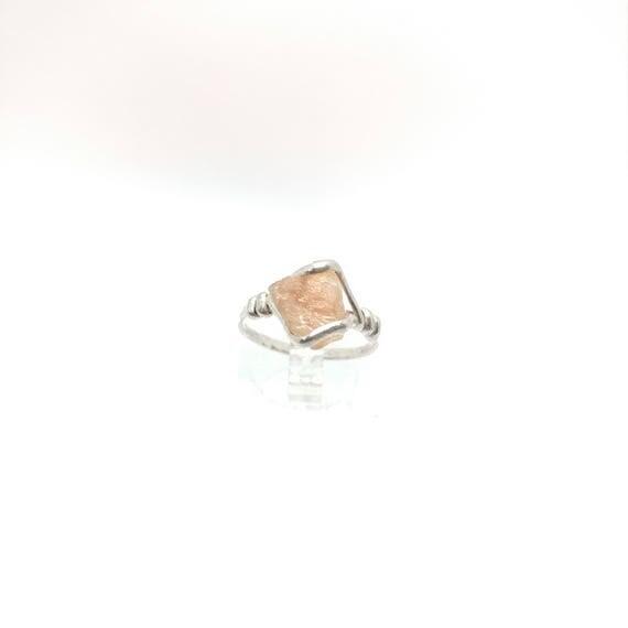 Raw Oregon Sunstone Ring | Raw Crystal Ring | Sterling Silver Ring Sz 6.5 | Rough Gemstone Ring | Raw Stone Ring | Rough Crystal Ring
